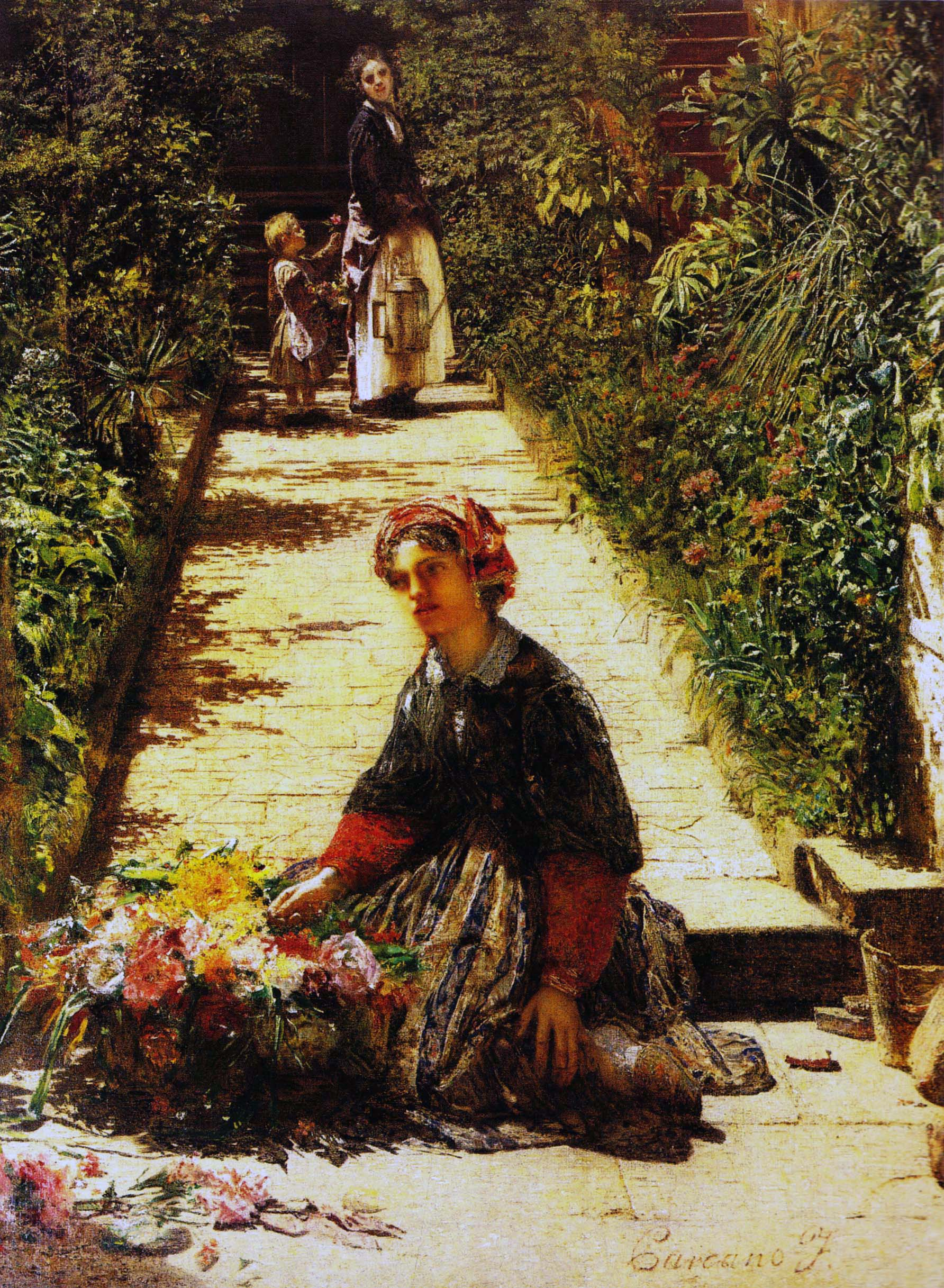 Scene di vita quotidiana filippo carcano for Giardino o cortile